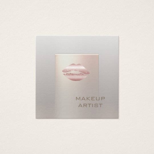 Ombre chic bright rose pearl lips modern luxury square business card