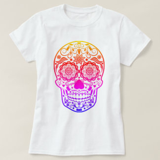 Ombre Colourful Candy Sugar Skull Shirt