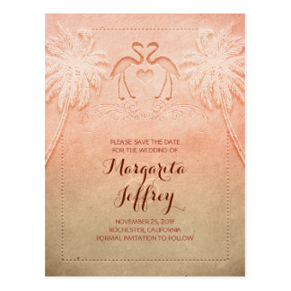 Ombre cute flamingo beach save the date postcards