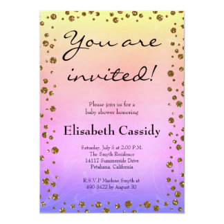 Ombre Gold Confetti Baby Boy Shower Invitation