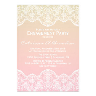 Ombre Lace Pattern Sunset Engagement Invitation