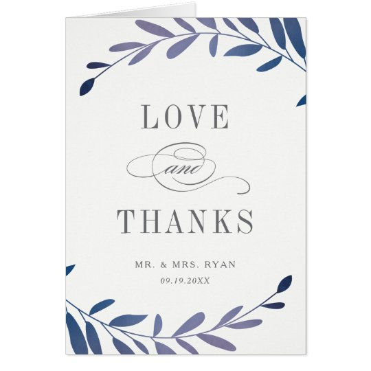 Ombre laurels folded photo thank you note card