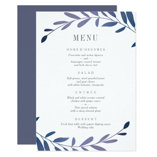 Ombre laurels menu card