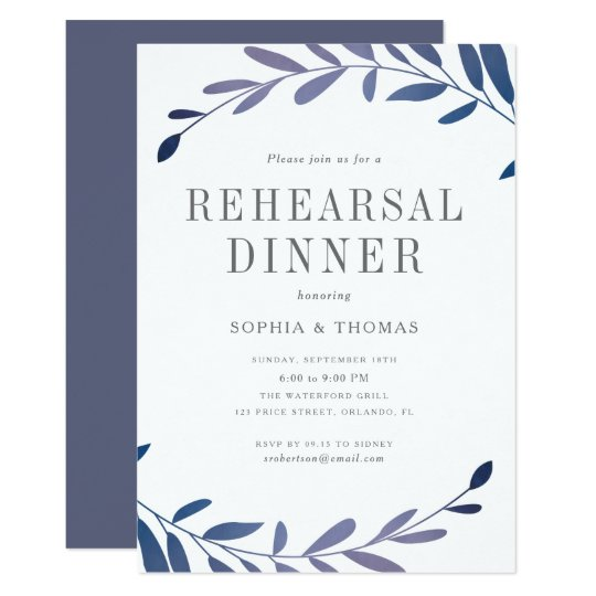 Ombre laurels rehearsal dinner invitation