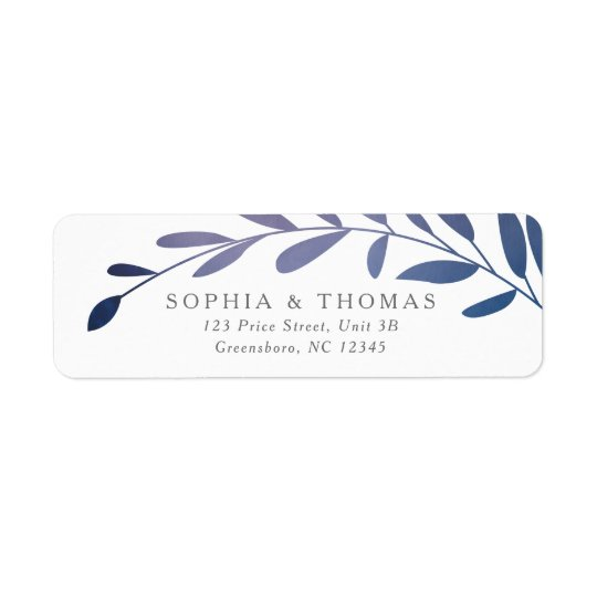 Ombre laurels return address label