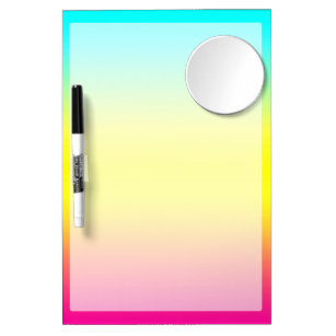 Ombre Magical Rainbow Unicorn Colours Dry Erase Board With Mirror