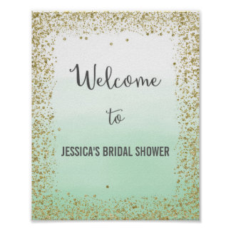 Ombre Mint and Gold Welcome Poster Print