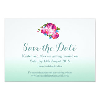 Ombre Mint Floral Save the Date Cards