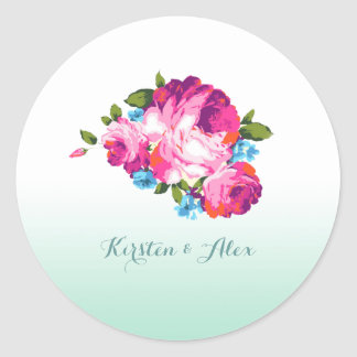 Ombre Mint Floral Wedding Invitation Stickers