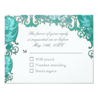 Ombre Modern Swirl Etchings Vintage Art Deco Style Custom Invites