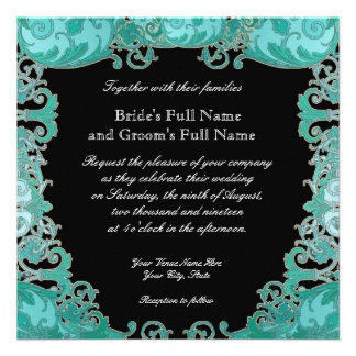 Ombre Modern Swirl Etchings Vintage Art Deco Style Invites