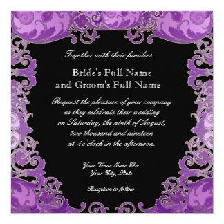 Ombre Modern Swirl Etchings Vintage Art Deco Style Personalized Invitation