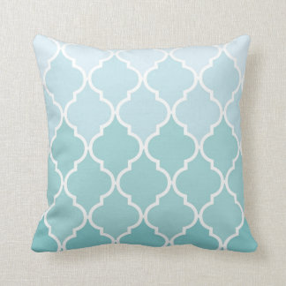 Ombre, Moroccan Pattern, Latticework - Blue White Cushion