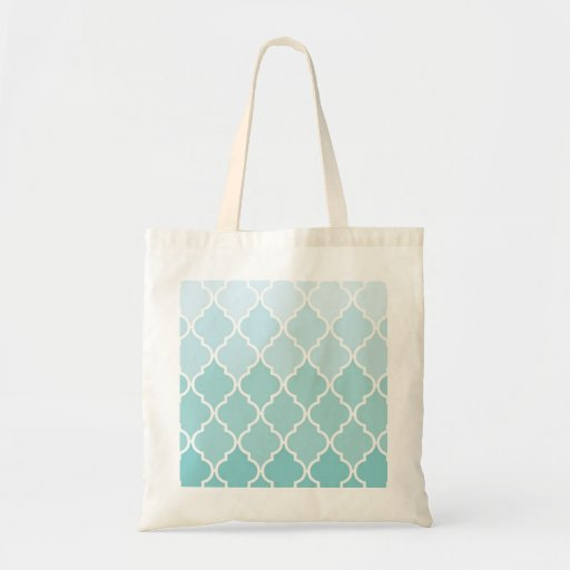 Ombre Moroccan Trellis, Latticework - Blue White Canvas Bags