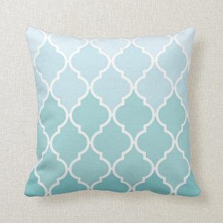 Ombre Moroccan Trellis, Latticework - Blue White Throw Pillow