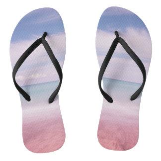 Ombre ocean flip flops, pink blue sea slippers thongs