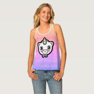 Ombre Pastel Happy Unicorn Emoji Tank Top