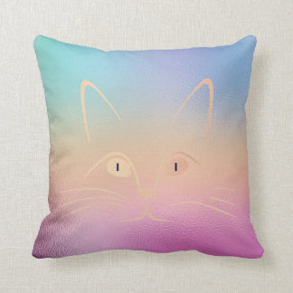 Ombre Peach Pink Rose Blush Glam Cat Throw Pillow