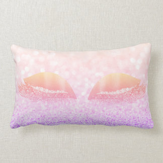 Ombre Pink Rose Glitter Crystals Makeup Lashes Lumbar Cushion