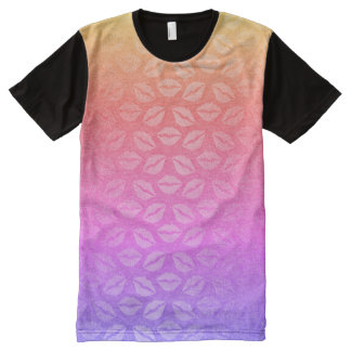 Ombre Pink Rose Rainbow Lips Kiss Purple All-Over Print T-Shirt
