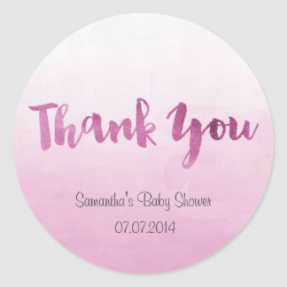 Ombre Pink Watercolor Baby Shower Sticker
