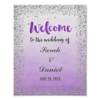 Ombre Purple and Silver Welcome Poster Print