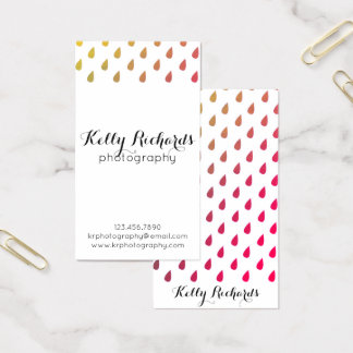 Ombre Rainbow Rain Water Drops Business Cards