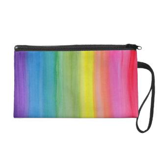 Ombre Rainbow Watercolor Print Wristlet