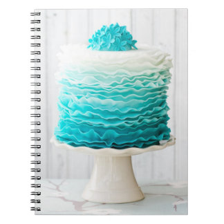 Ombre ruffle cake spiral note book