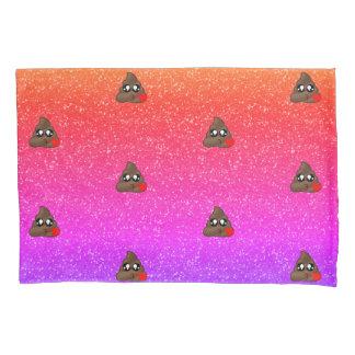 Ombre Sparkle Heart Poop Emoji Pillow Case