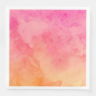 Ombre summer pink orange sunset watercolor wash disposable serviette
