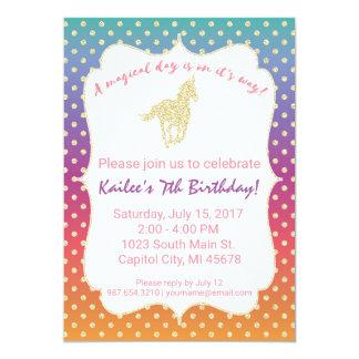 Ombre Unicorn Glitter Birthday Party Invitation