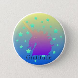 Ombre unicorn with word gratitude 6 cm round badge