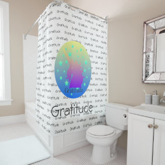 """""""Ombre unicorn with word gratitude"""" Shower Curtain"""