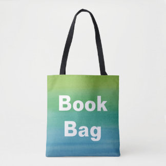 Ombre Watercolor Print Book Bag Mermaid Colors