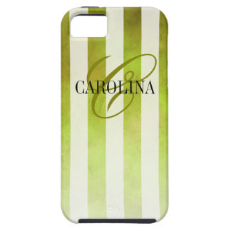 Ombre Watercolor Stripes Monogram Name | pear Case For The iPhone 5