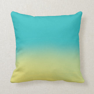 Ombre Watercolor Texture - Teal and Yellow Sunset Cushion