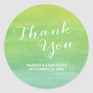 Ombre Watercolor Thank You Stickers / Lime Emerald