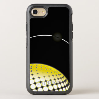 Ombre Yellow White Circles on Black Background OtterBox Symmetry iPhone 8/7 Case