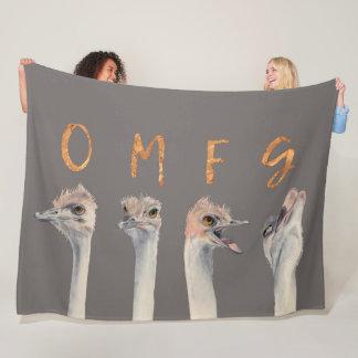 OMFG Ostriches Fleece Blanket