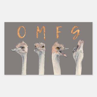 OMFG Ostriches Rectangular Sticker