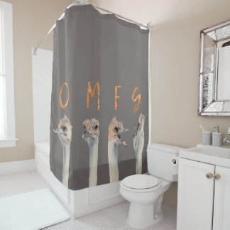 OMFG Ostriches Shower Curtain