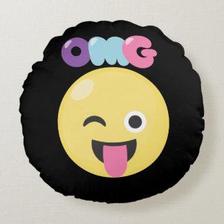 OMG Emoji Round Cushion