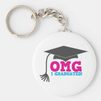 OMG I GRADUATED! great graduation gift Basic Round Button Key Ring