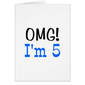 OMG I'm 5 (blue) Card