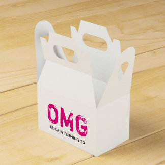 OMG It's Your Birthday Gable Favor Box - Hot Pink Party Favour Box