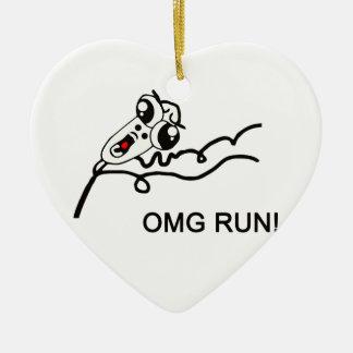 OMG run! - meme Ceramic Heart Decoration