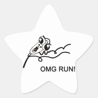 OMG run! - meme Star Sticker