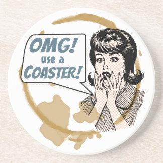 OMG! Use a Coaster! Funny Retro Coffee Ring Coaster