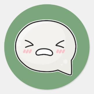 omg whyyyy sad face round sticker